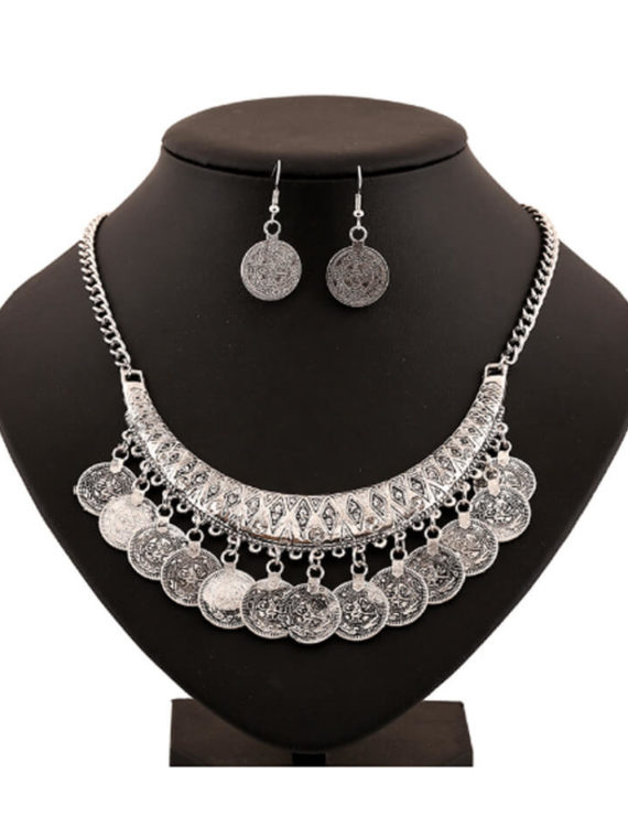 Ethnic Coin Necklace Earrings Set