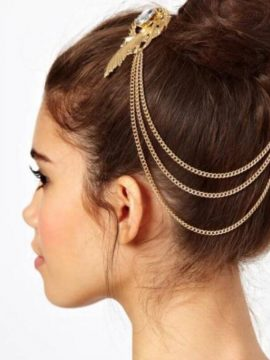 Feather Head Chain Hair Clip Accessories
