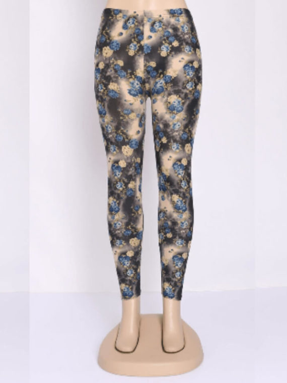 Floral High Waisted Leggings Rose Pattern