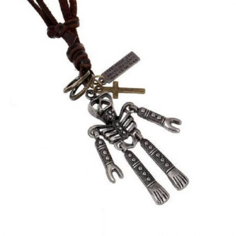 Genuine Leather Cord Necklace Skeleton Pendant