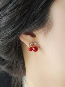 Gold Tone Sweet Cherry Stud Earrings