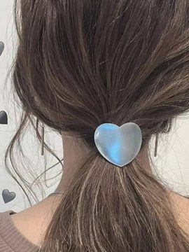 Heart Hair Ties Silver Tone Metal Hairwear 1