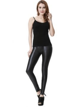 High Waist Faux Leather Leggings Black