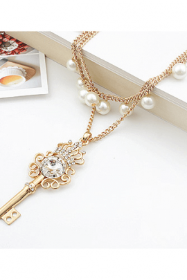 Key Necklace Double Layer Pearls Pendant