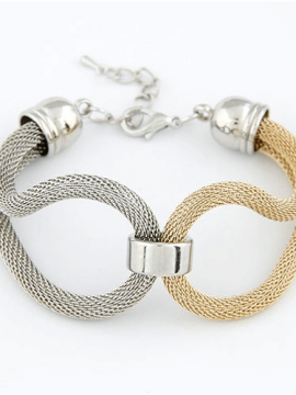 Knitted Metal Bracelet Gold Silver Tone