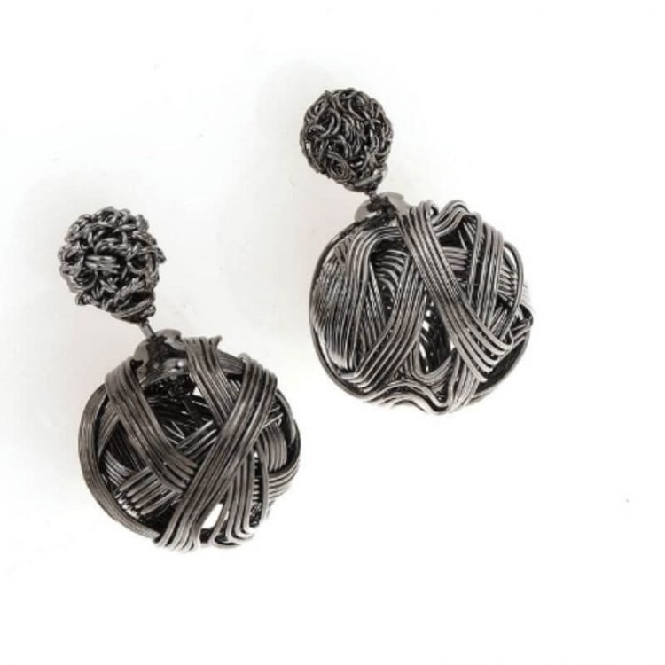 Knot Earrings Double Ball Design Stud