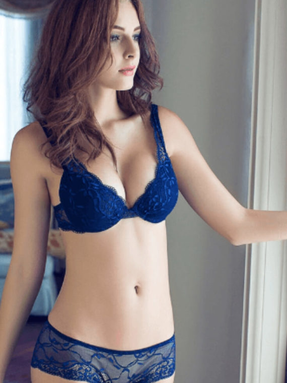 Lace Bra Panty Set V Neck Royal Blue