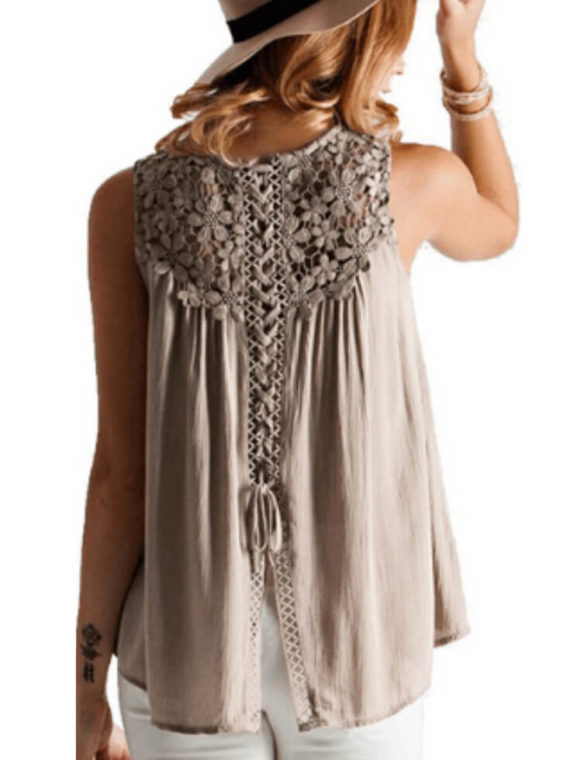 Lace Trim Chiffon Blouse