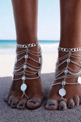 Layered Coin Anklet Boho Style Jewelry