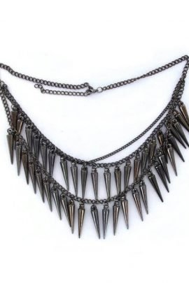 Layered Spike Necklace Silver Tone Pendant