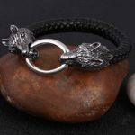 Leather Wolf Bracelet Stainless Steel