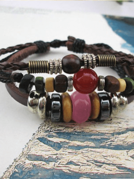 Leather Wristband Adjustable Beaded Bracelet