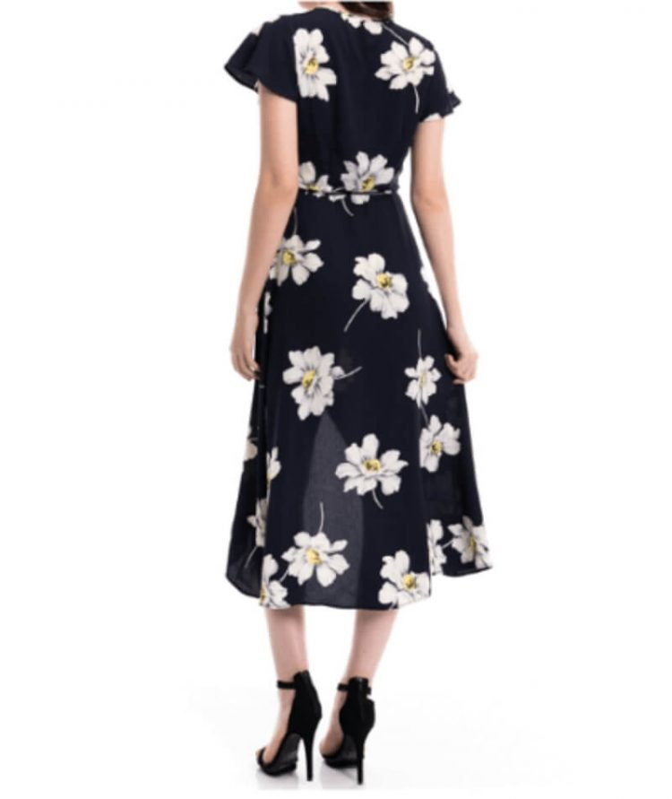 Maxi Wrap Dress Floral Short Sleeve