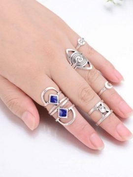 Midi Rings Set Bohemian Antique Silver