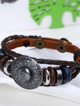 Multilayer Leather Bracelet Geometric Pattern