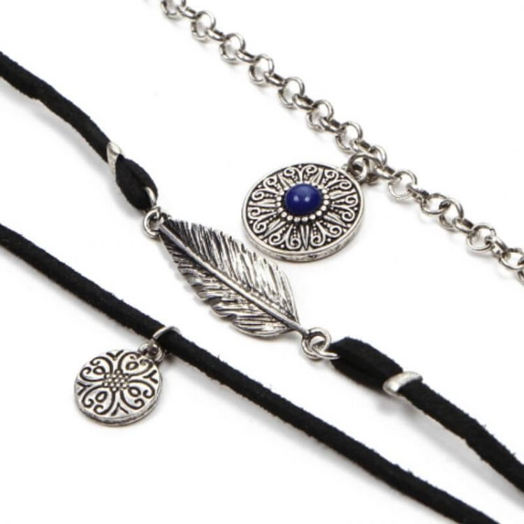 Multilayer Suede Leather Necklace Boho Style