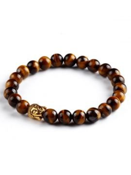Natural Stone Beaded Bracelet Buddha Head Design