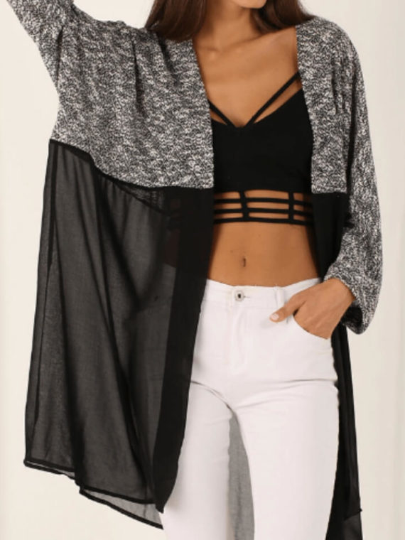 Open Front Cardigan Batwing Sleeve