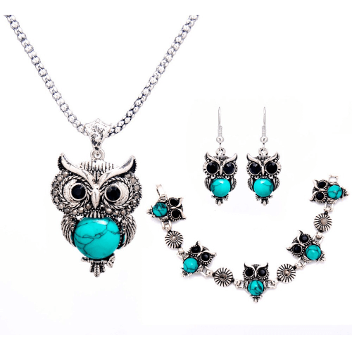 Owl Jewelry Turquoise Owl Necklace Set