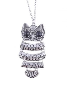 Owl Pendant Necklace Silver Black Eyes
