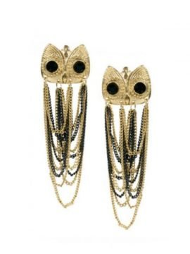 Owl Tassel Earrings Gold Tone Black Eyes