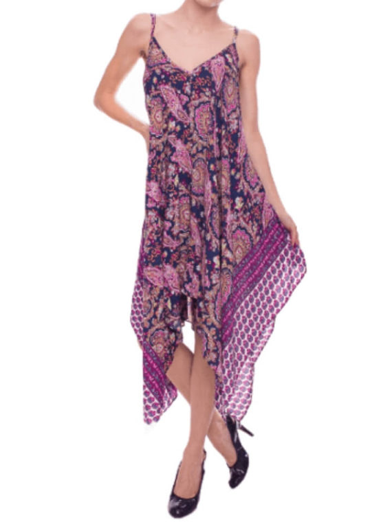 Paisley Print Dress V Neck Loose Fit Maxi