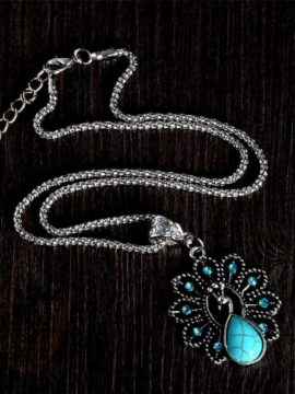 Peacock Pendant Turquoise Necklace