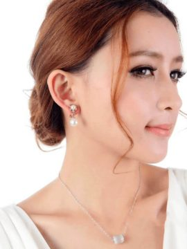 Pearl Drop Earrings Crystal Gold Plated