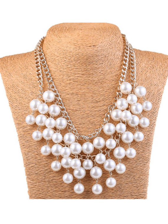 Pearl Layered Necklace Double Strand Design