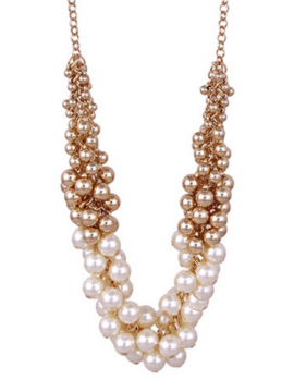 Pearl Necklace Clustered Gold Tone Beads 1