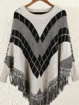 Poncho Sweater Batwing Sleeve Fringe Trim