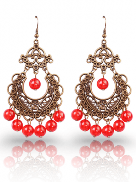 Red Drop Earrings Antique Bronze Plated