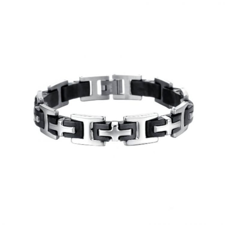 Rubber Stainless Steel Bracelet Cross Design