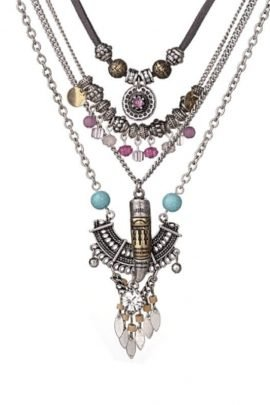 Silver Layered Necklace Mix Beaded Pendant