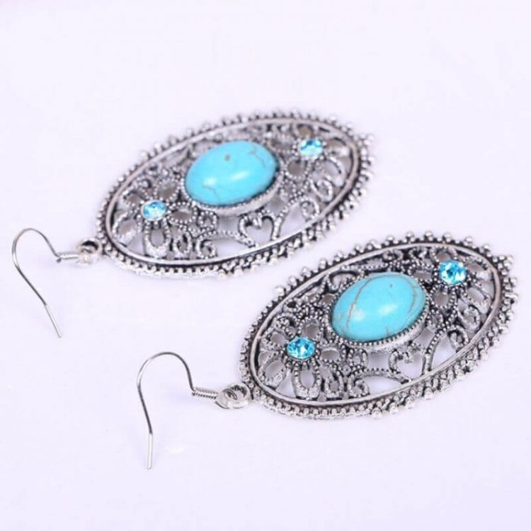 Silver Plated Oval Turquoise Earrings