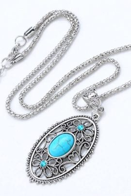 Silver Plated Oval Turquoise Necklace