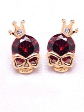 Skull Earrings Crown 18K Gold Plated