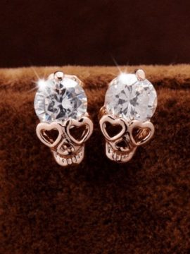 Skull Stud Earrings Heart Eyes Design