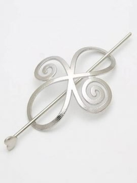 Slider Bun Holder Silver Tone Barrette