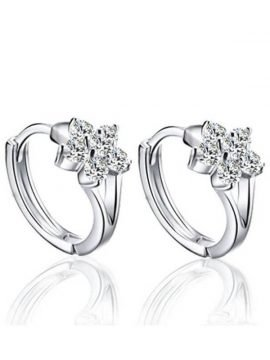 Snowflake Stud Earrings Silver Plated