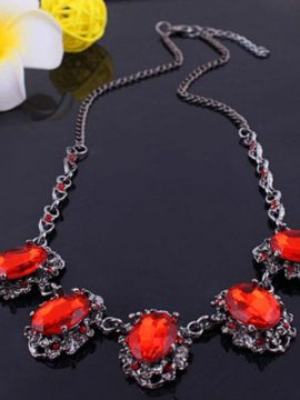 Sparkling Red Stone Statement Necklaces