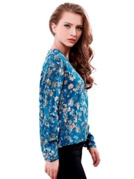 Split Neck Blouse High Low Hem Floral Printed