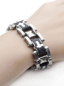 Stainless Steel Cross Bracelet Rubber Accent