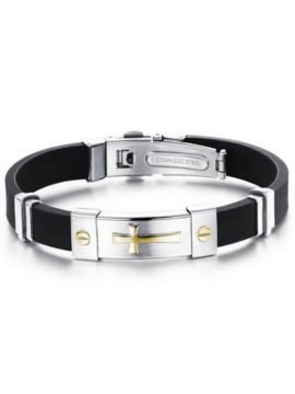 Stainless Steel Rubber Bracelet Cross Design