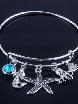 Starfish Charm Bracelet Silver Tone Bangle