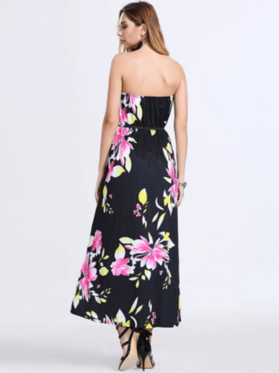 Strapless Maxi Dress Long Floral Print