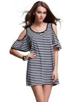 Striped Cold Shoulder Mini Dress