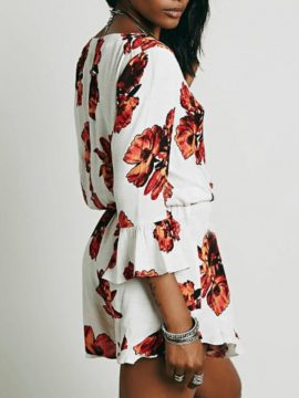 Three Quarter Sleeve Romper Sexy Floral V-Neck
