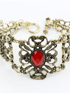 Toggle Bracelet Red Stone Vintage Inspired