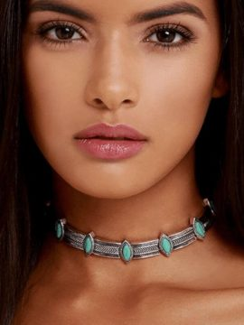 Turquoise Choker Boho Silver Necklace